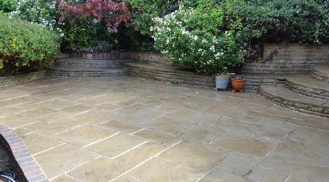 A Tamworth patio after cleaning